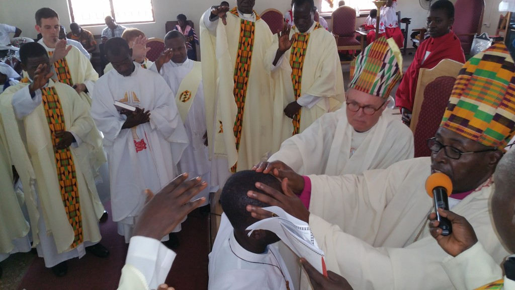 Bishops Edmund and Carl ordain Fr. Emmanuel to the priesthood as the newest priest in the Diocese of Dunkwa.