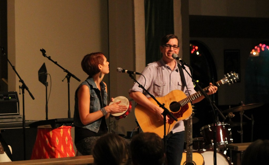 Ryan Flanigan and his wife, Melissa, playing a concert at All Saints Dallas