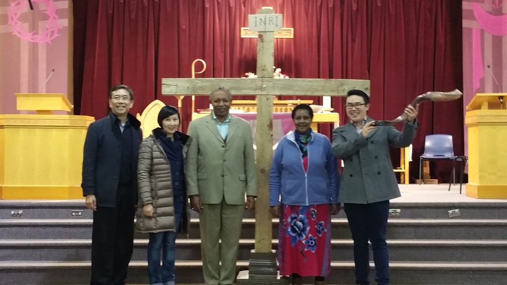 Archbishop Kolini poses with Freda, Bishop Silas and Michelle along with Deacon Ignatius after touring Emmanuel Anglican Church, Richmond, B.C.