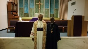 Archbishop Kolini poses for a picture after meeting with Archpriest Kes Berhanu Bekele of the Ethiopian Orthodox Church. Fr. Bekeke and the Archbishop talked about refugee ministry for those leaving Africa.