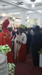 Bishop Masimango enters Saint Peters Parish upon his enthronement.
