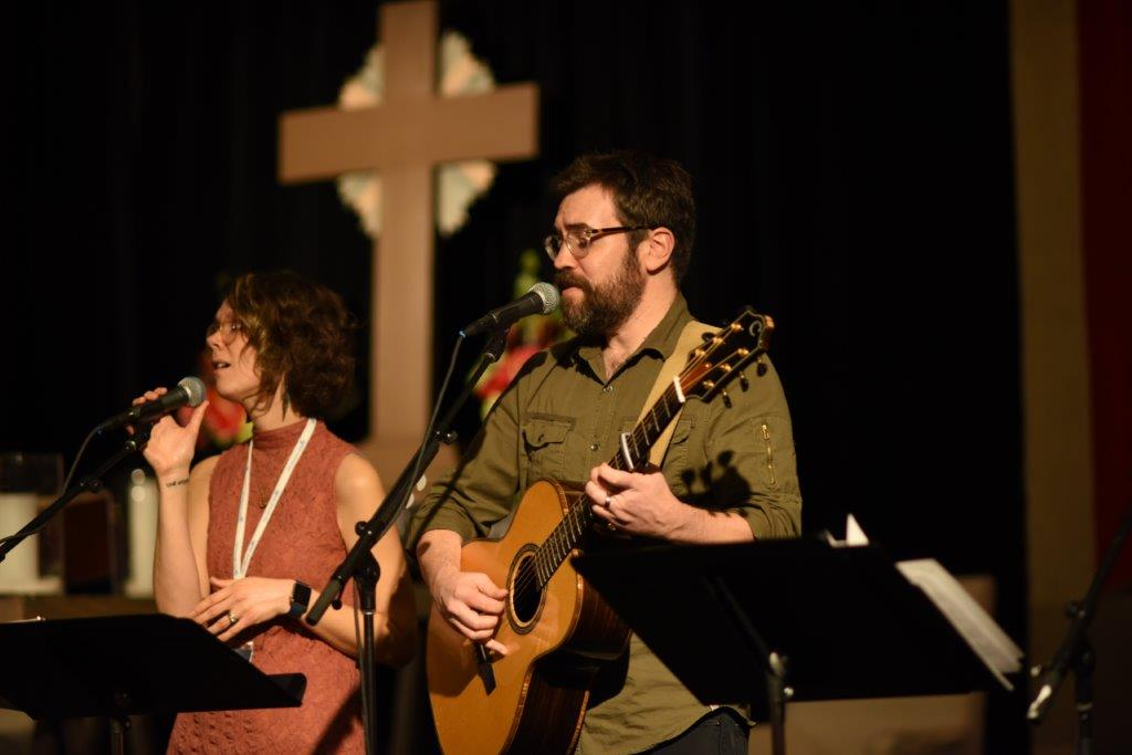 Worship leaders Melissa and Ryan Flanigan at Winter Conference 2018.